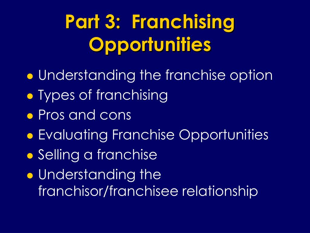 Part 3:  Franchising Opportunities
