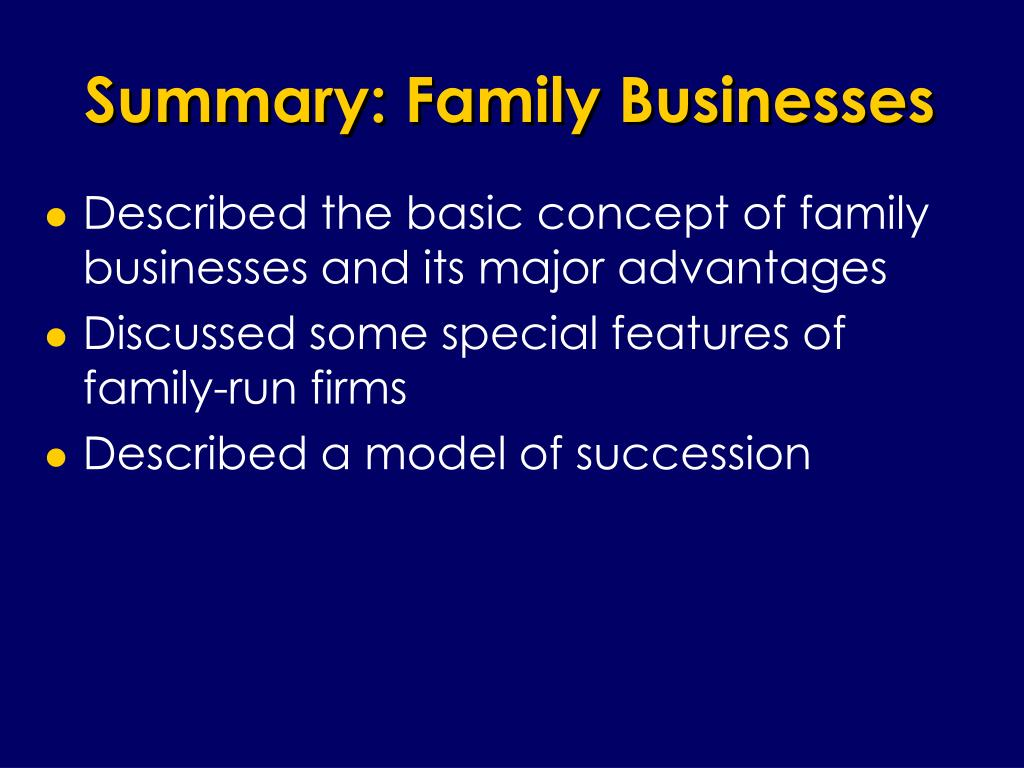 Summary: Family Businesses