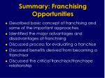 summary franchising opportunities