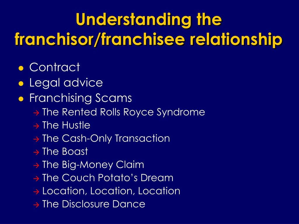 Understanding the franchisor/franchisee relationship