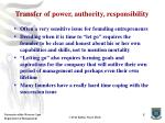 transfer of power authority responsibility