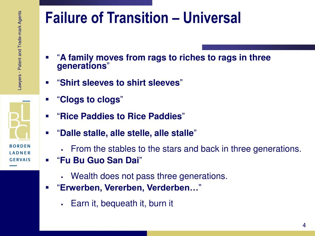 Failure of Transition – Universal