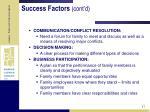 success factors cont d