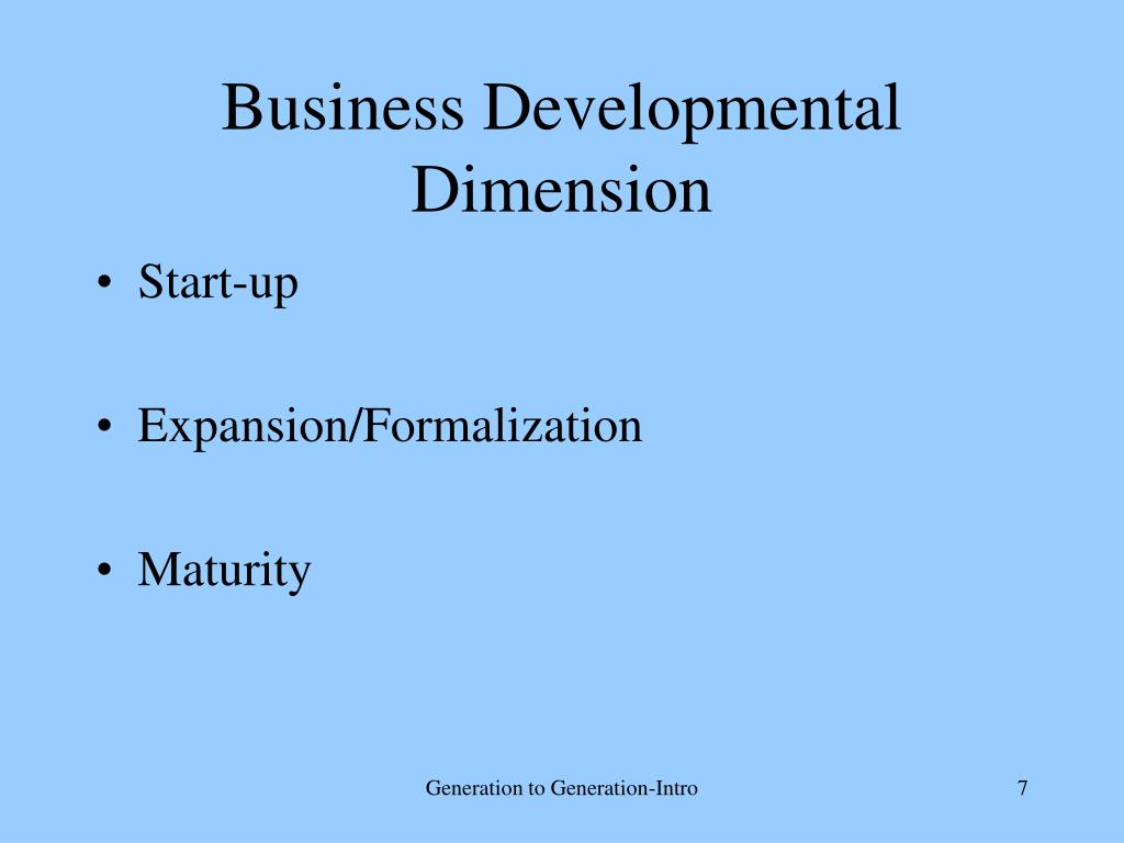 Business Developmental Dimension