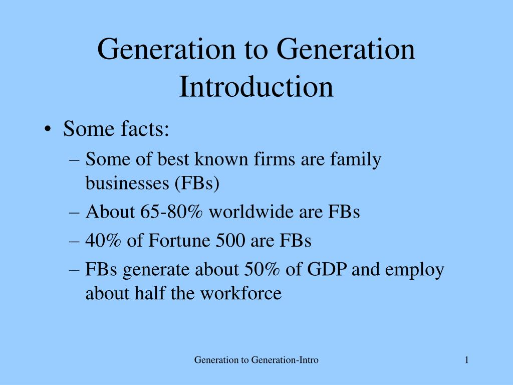 generation to generation introduction l.