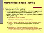 mathematical models contd