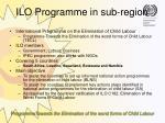 ilo programme in sub region