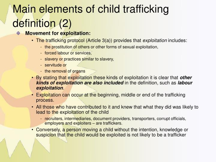 Main elements of child trafficking definition (2)