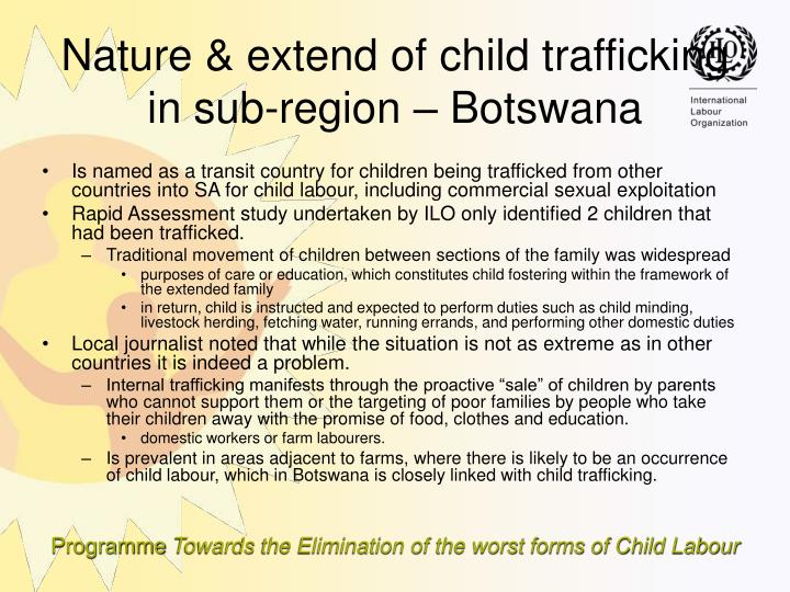 Is named as a transit country for children being trafficked from other countries into SA for child labour, including commercial sexual exploitation