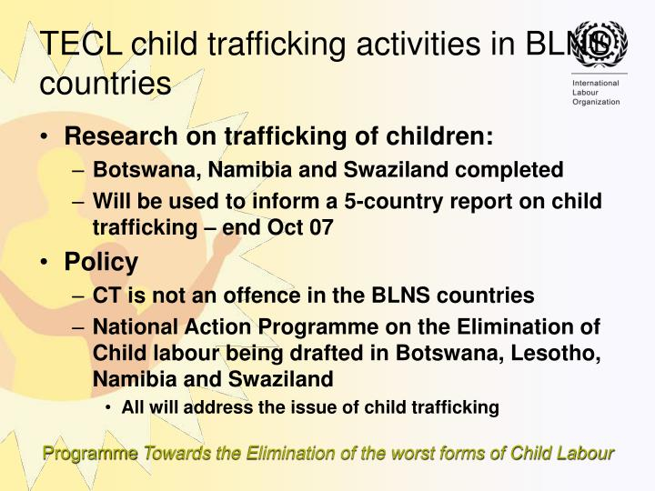 Research on trafficking of children:
