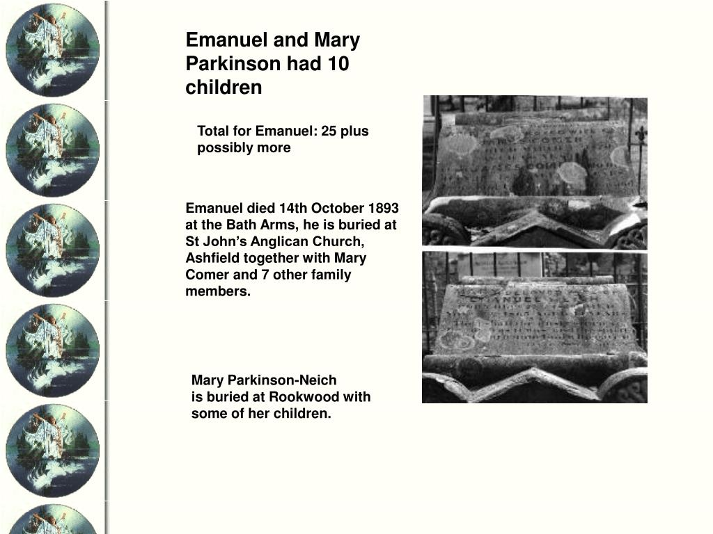 Emanuel and Mary Parkinson had 10 children