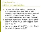 conclusion effects on shareholders