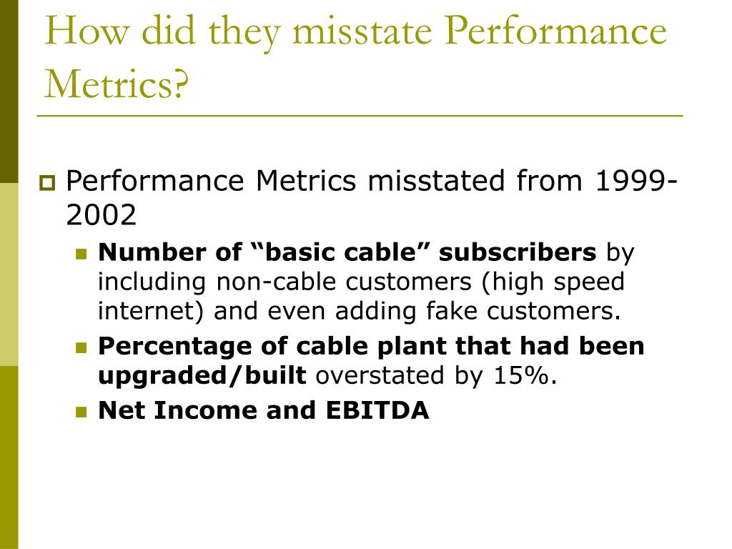How did they misstate Performance Metrics?