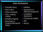 auto exclusions
