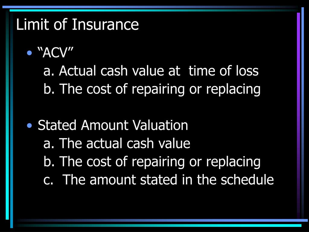 Limit of Insurance