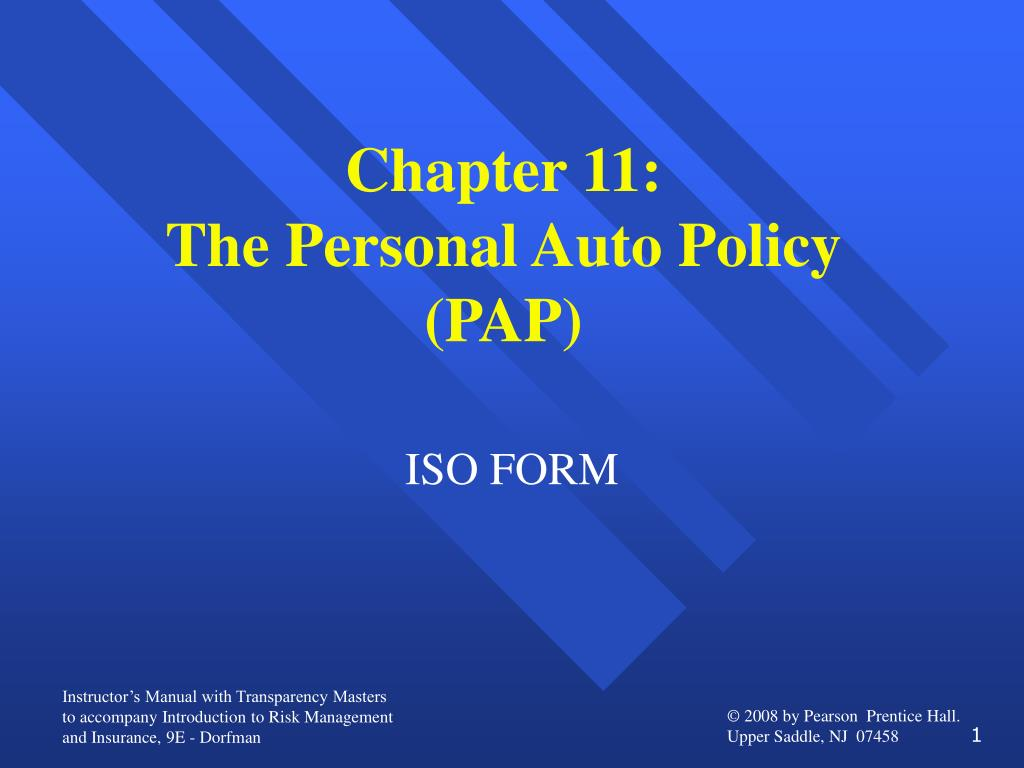 chapter 11 the personal auto policy pap
