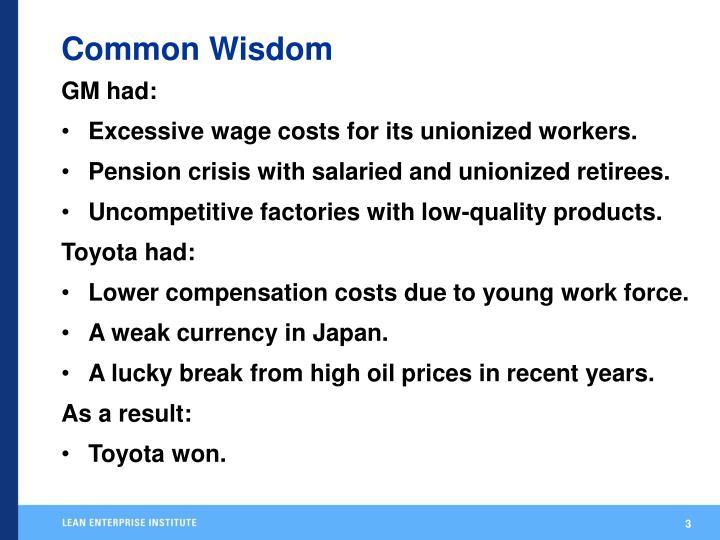 Common wisdom