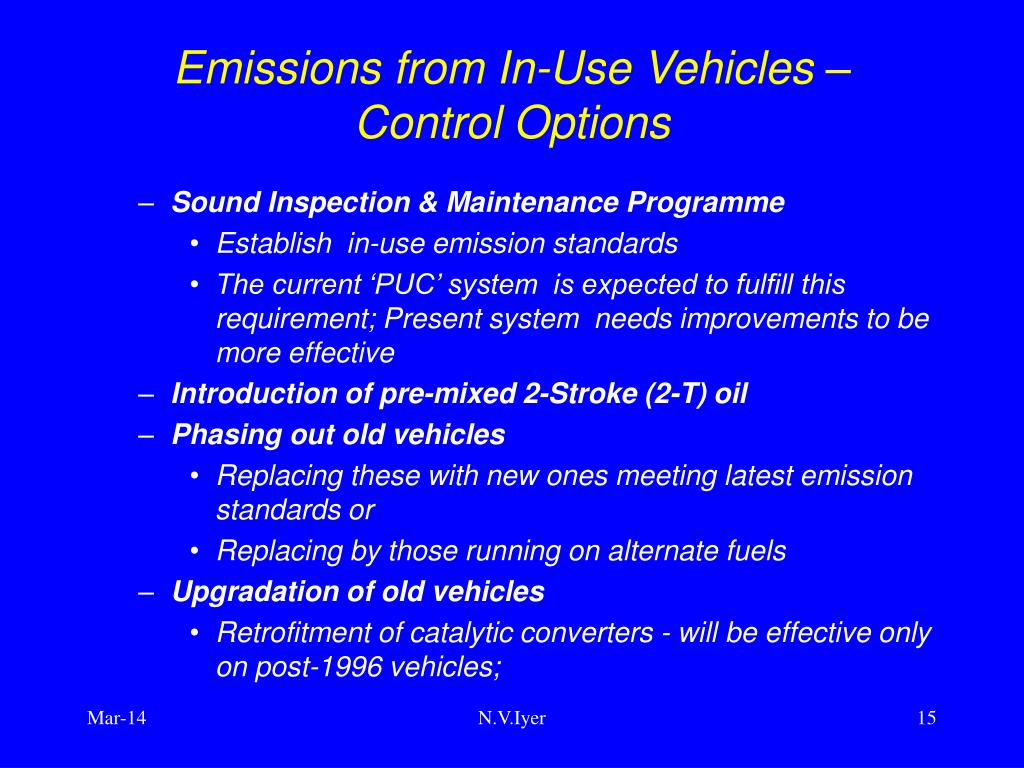 Emissions from In-Use Vehicles –