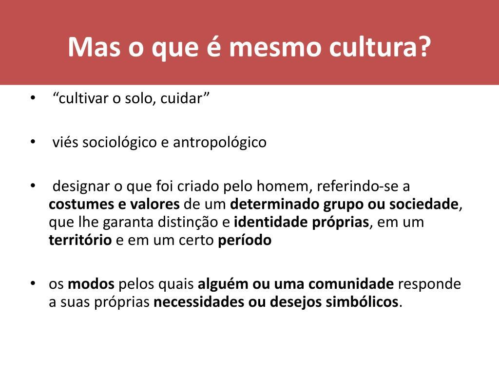 Mas o que é mesmo cultura?