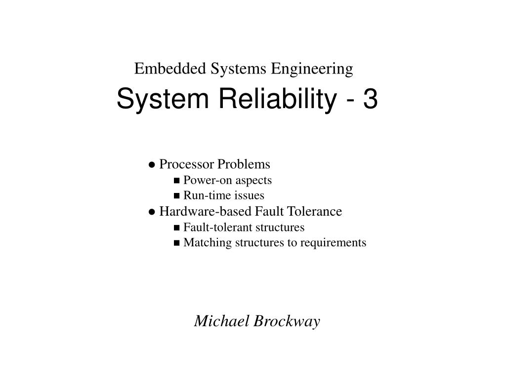 system reliability 3 l.