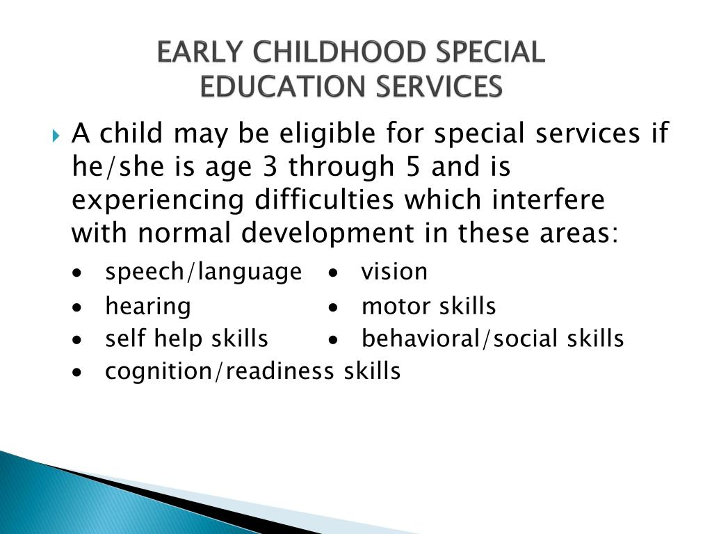 EARLY CHILDHOOD SPECIAL EDUCATION SERVICES