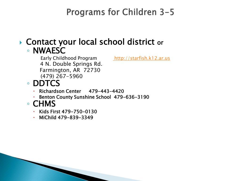Programs for Children 3-5