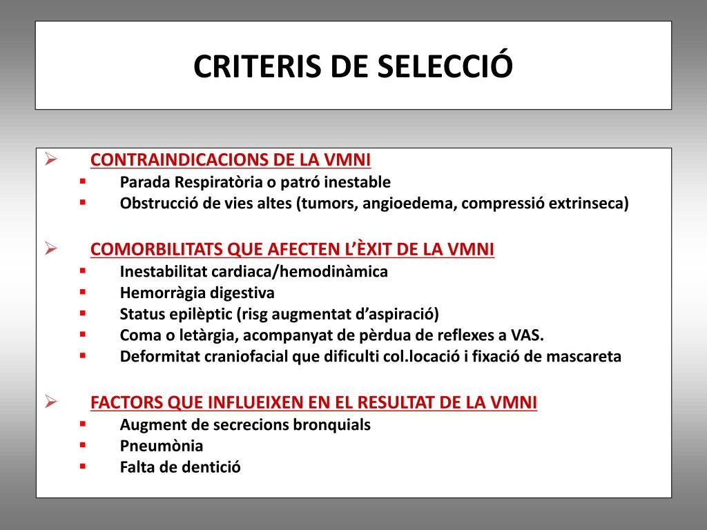CRITERIS DE SELECCIÓ