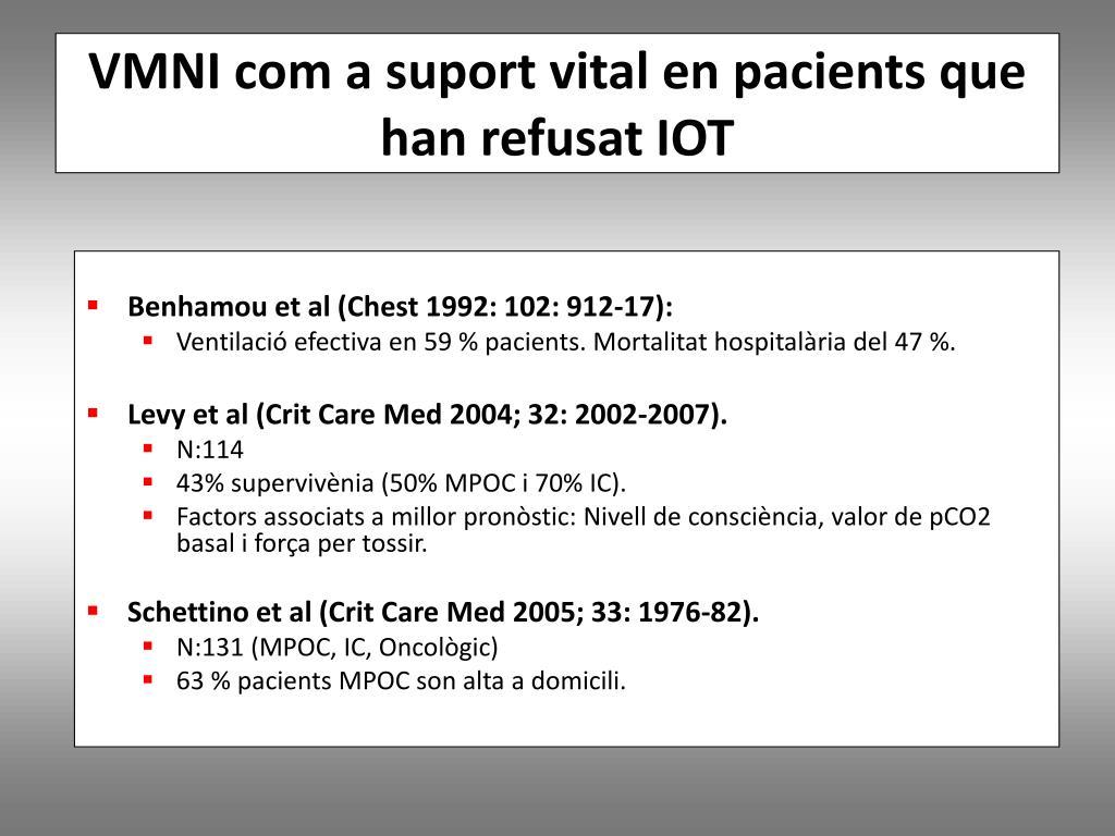 VMNI com a suport vital en pacients que han refusat IOT