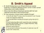 b smith s appeal