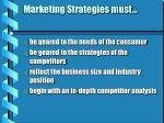 marketing strategies must