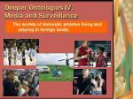 deeper ontologies iv media and surveillance98