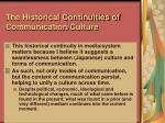 the historical continuities of communication culture