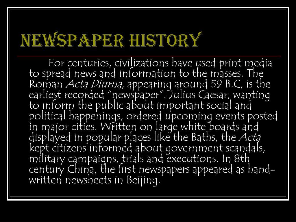 Newspaper history