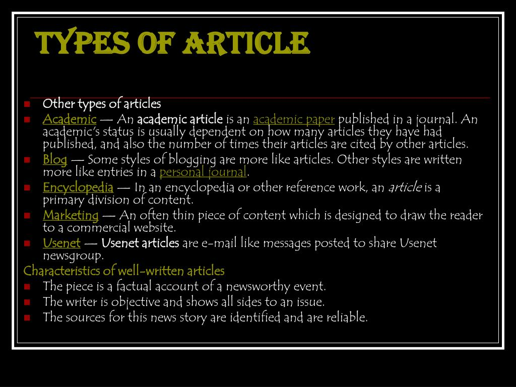 Types of articlE