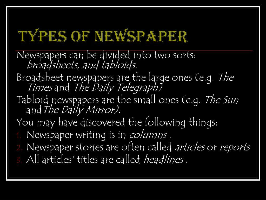 Types of newspaper