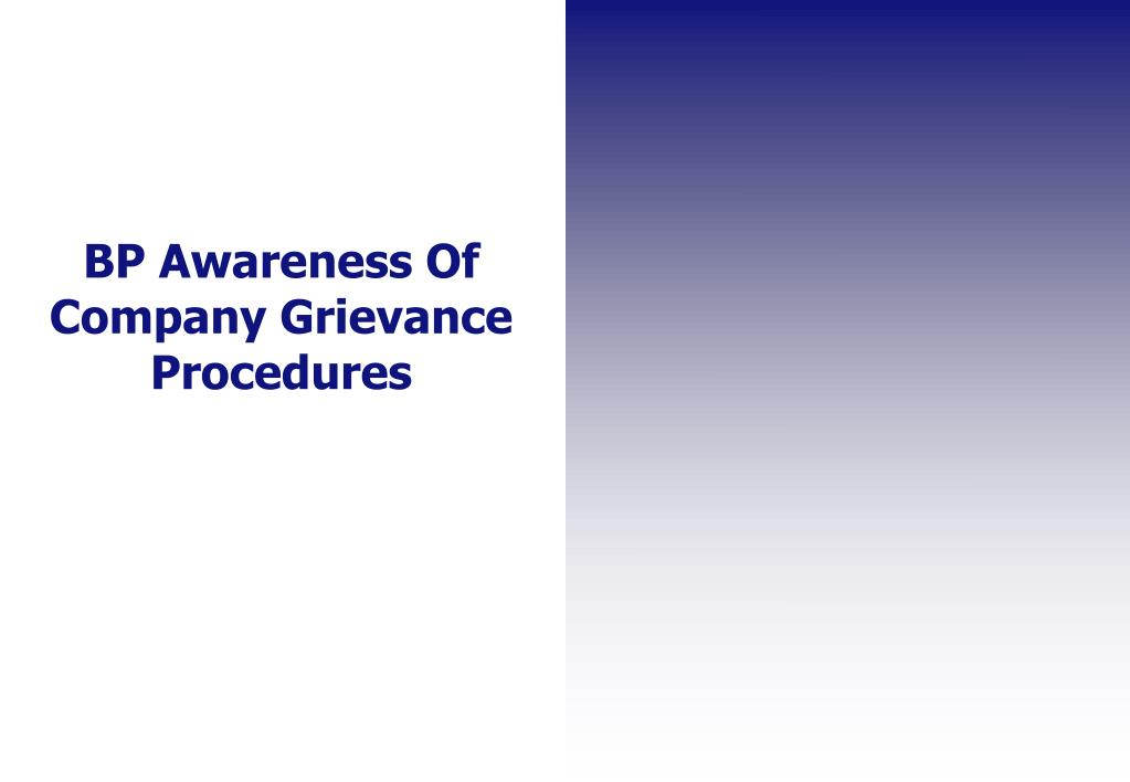 BP Awareness Of Company Grievance Procedures