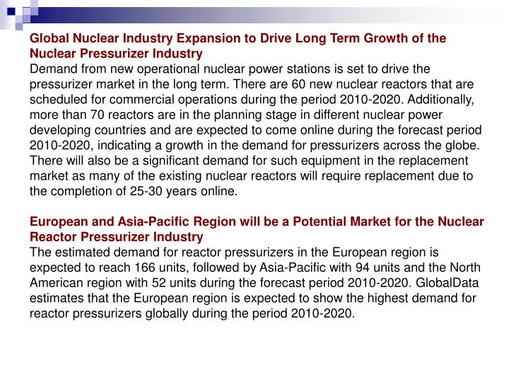 Global Nuclear Industry Expansion to Drive Long Term Growth of the Nuclear Pressurizer Industry