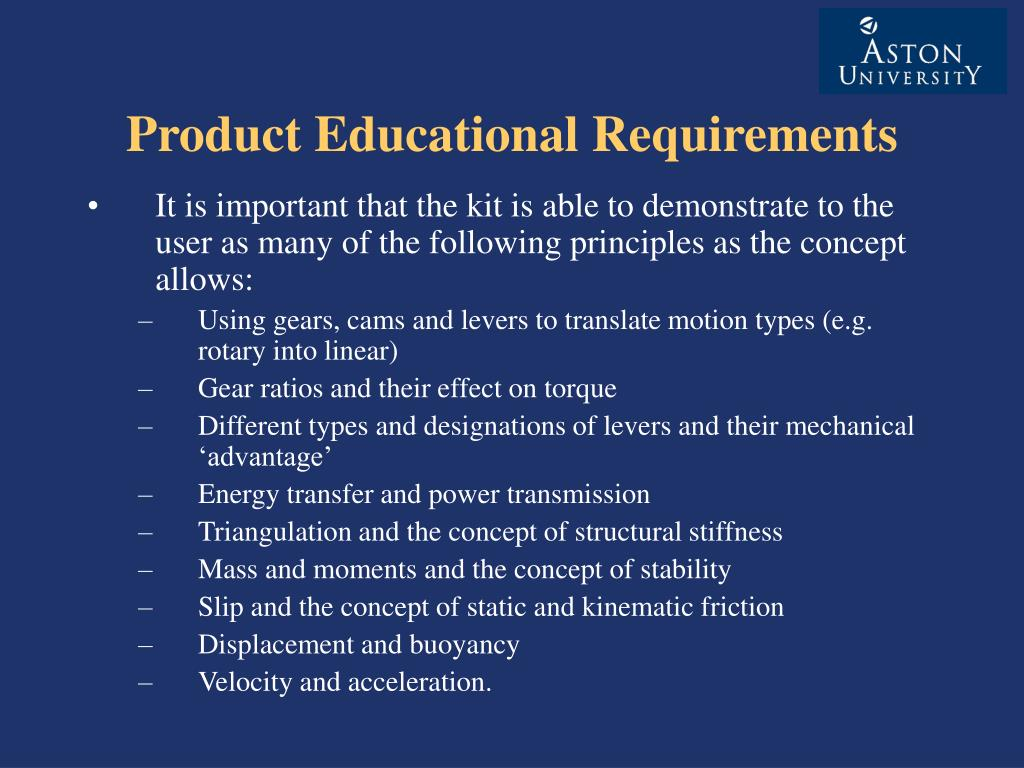 Product Educational Requirements
