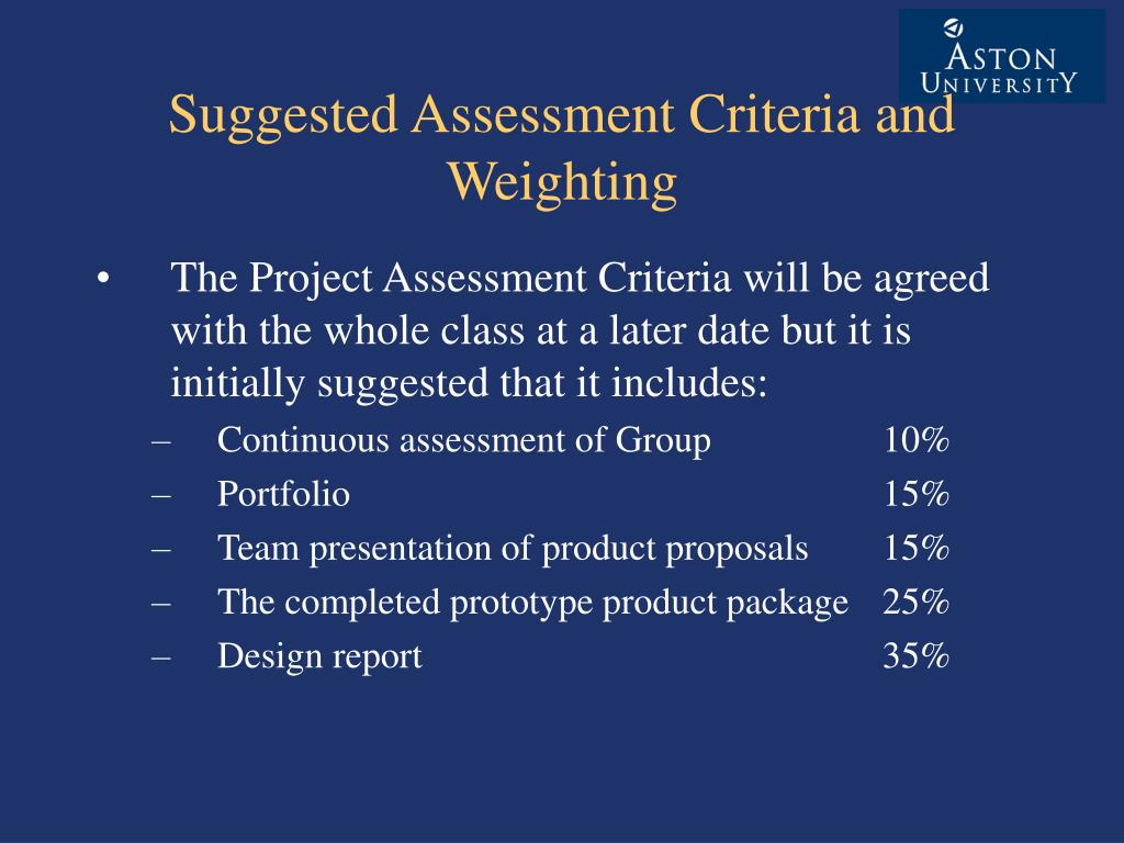 Suggested Assessment Criteria and Weighting