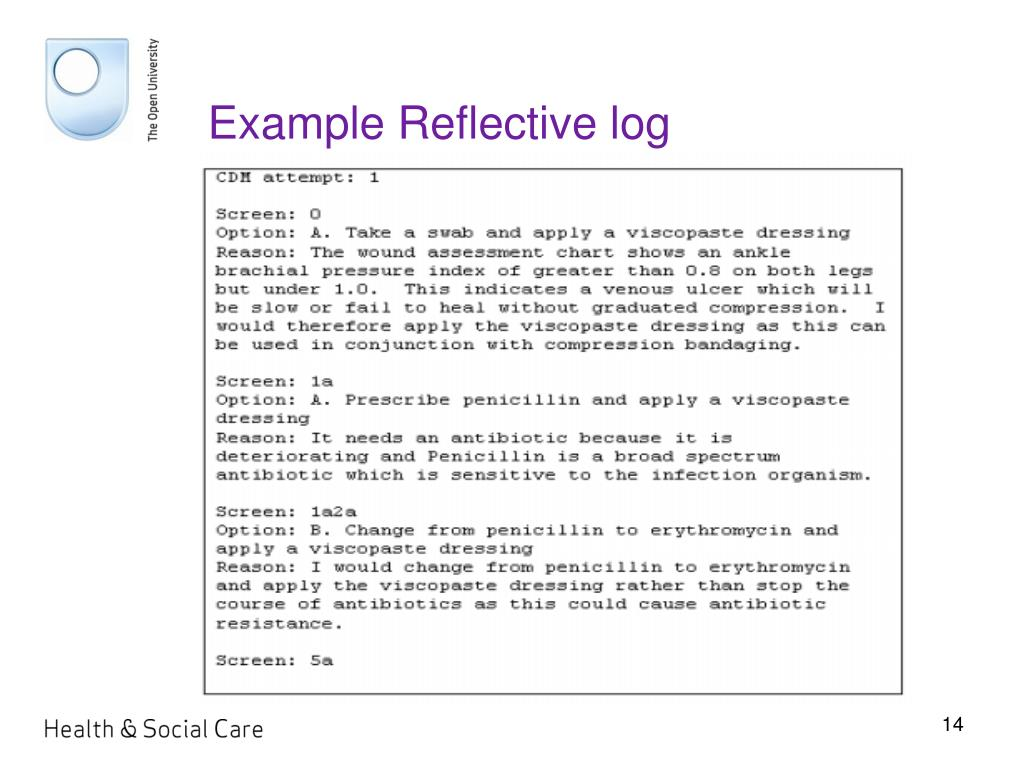 Example Reflective log