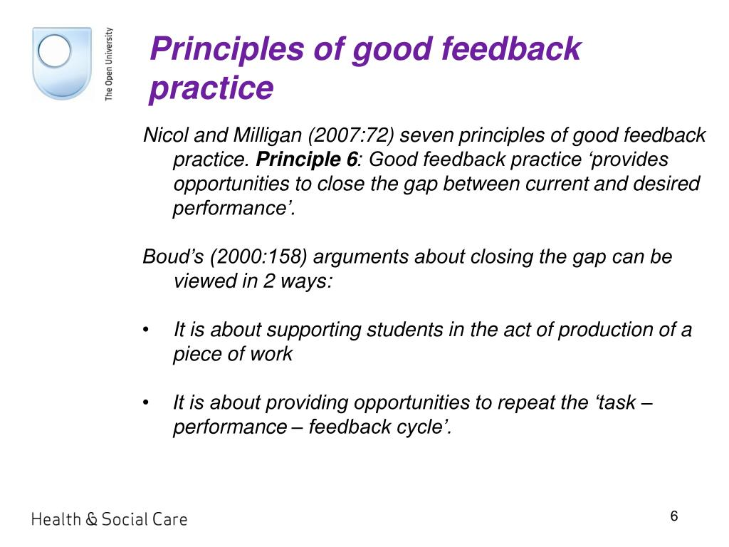 Principles of good feedback practice