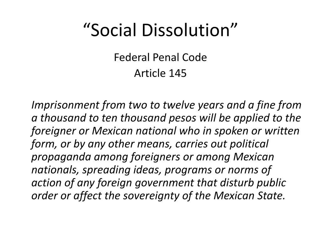 """Social Dissolution"""