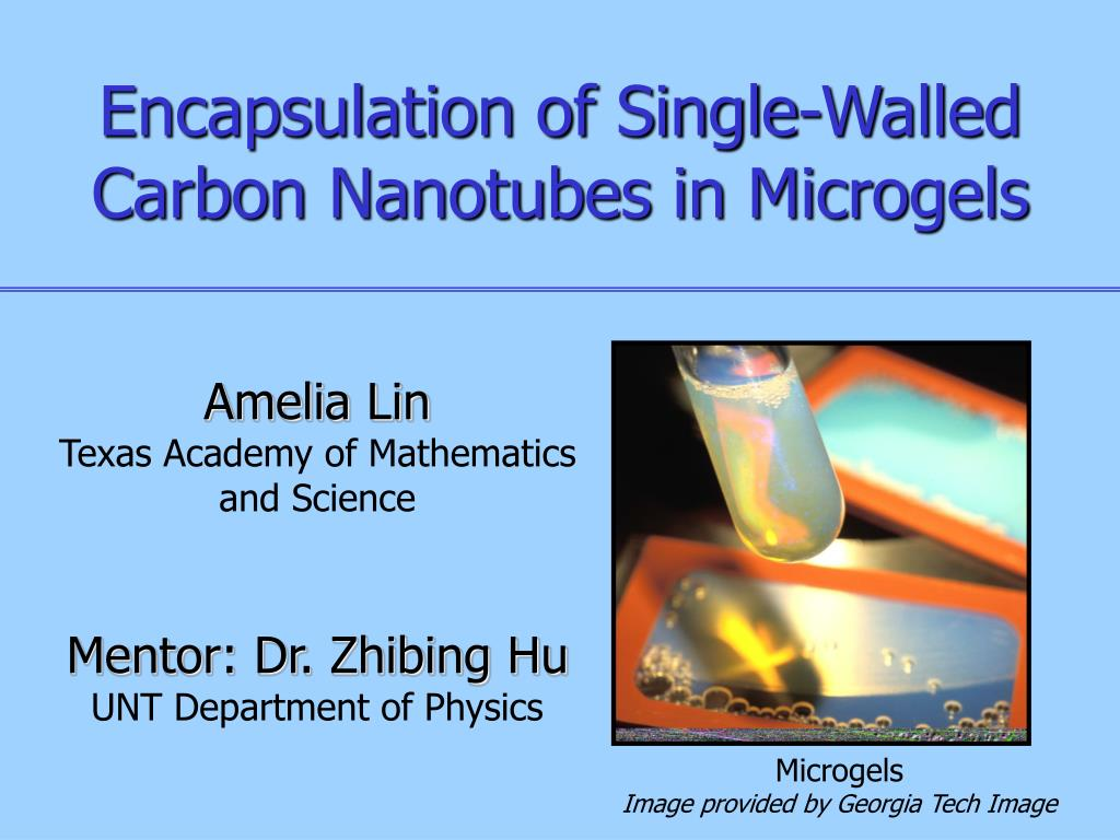 encapsulation of single walled carbon nanotubes in microgels l.
