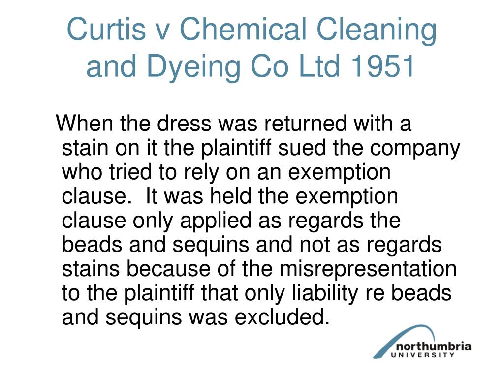 Curtis v Chemical Cleaning and Dyeing Co Ltd 1951
