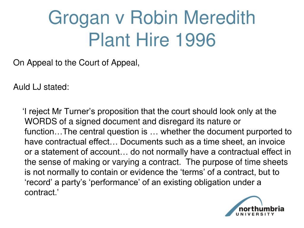 Grogan v Robin Meredith Plant Hire 1996