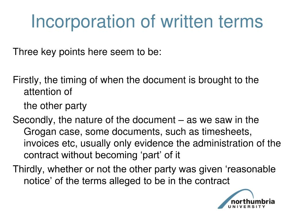 Incorporation of written terms