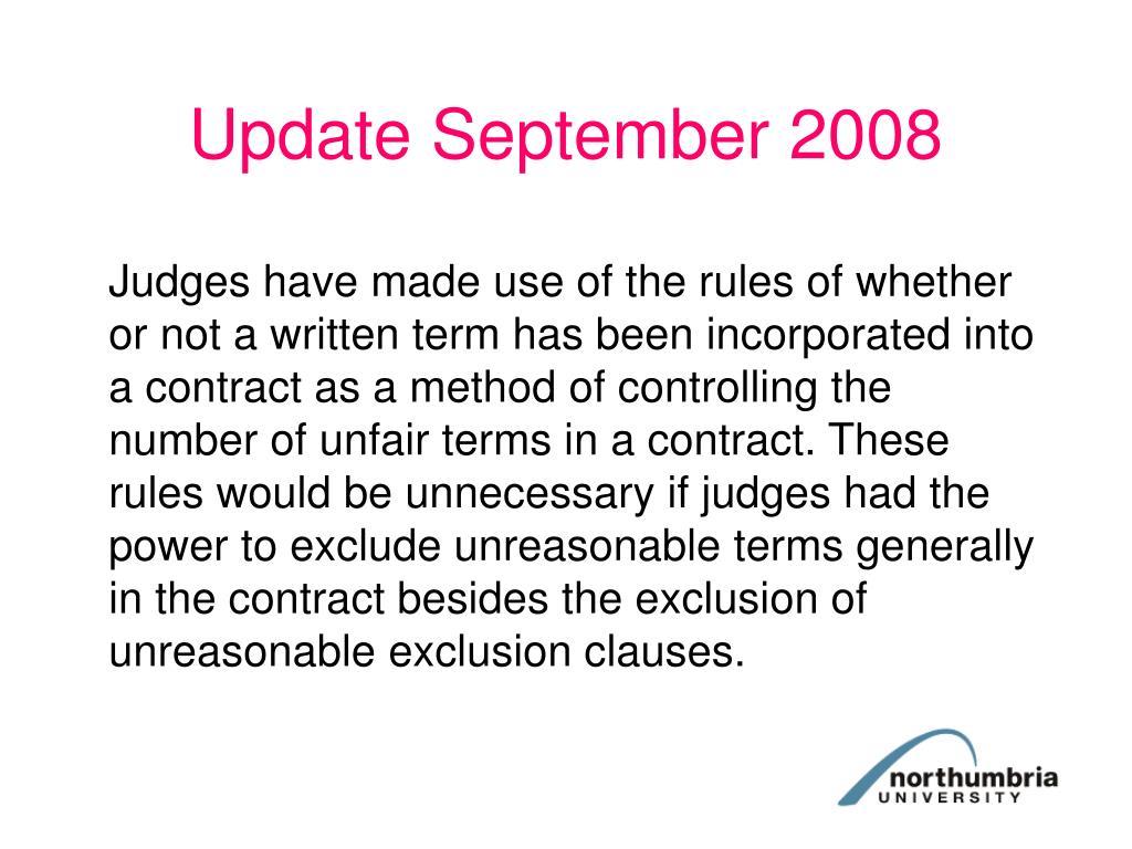 Update September 2008