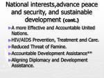 national interests advance peace and security and sustainable development cont