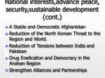 national interests advance peace security sustainable development cont
