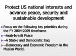 protect us national interests and advance peace security and sustainable development